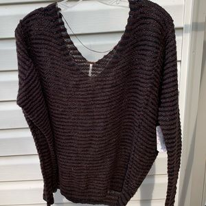 Free People brown sweater with black stripes NWT